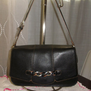 BRIGHTON Black Pebbled Leather Organizer Shoulder